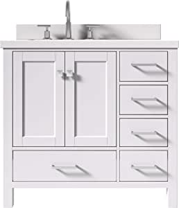 """ARIEL Bathroom Vanity 37"""" Inch in White with Pure White ..."""