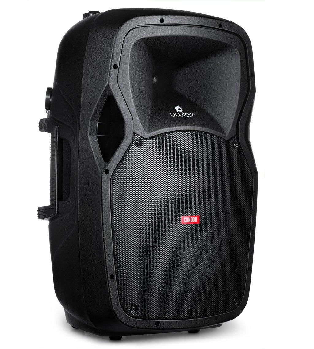 Owlee Condor Wireless Bluetooth Portable PA Speaker System with 2 Wireless Microphones, MP3/ USB/ SD/ FM Radio, Powerful 360 Watt Stereo Sound Output, Flashing DJ Lights, Telescoping Handle