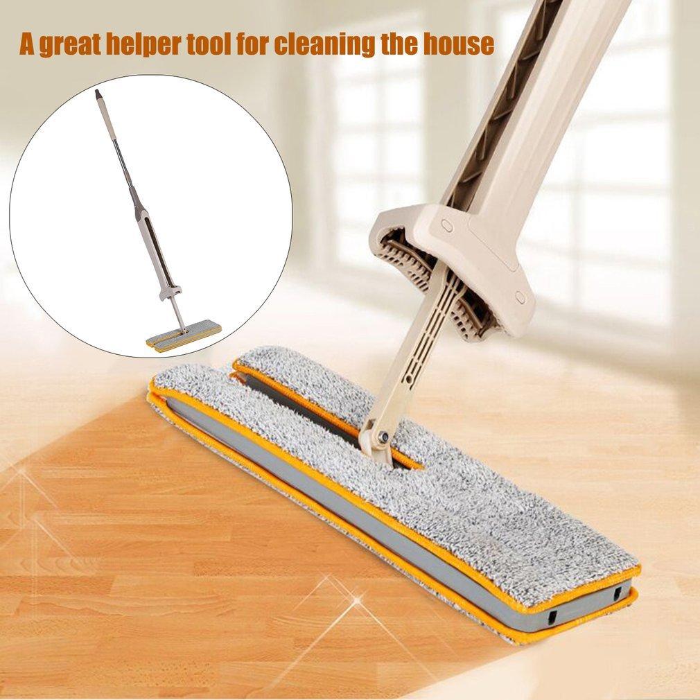 Homgrace Balai Double-face Lavage non lavé à la main Mop pliant en acier Mop à poussière Push Mop Outils de nettoyage à domicile ZM897700