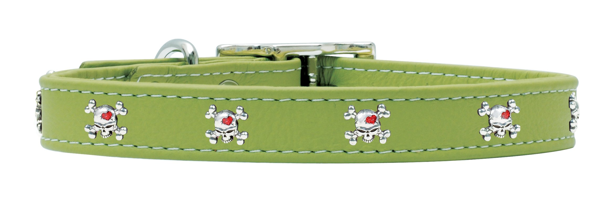 Rockin Doggie Skull Rivets Leather Dog Collar, 1 by 18-Inch, Green