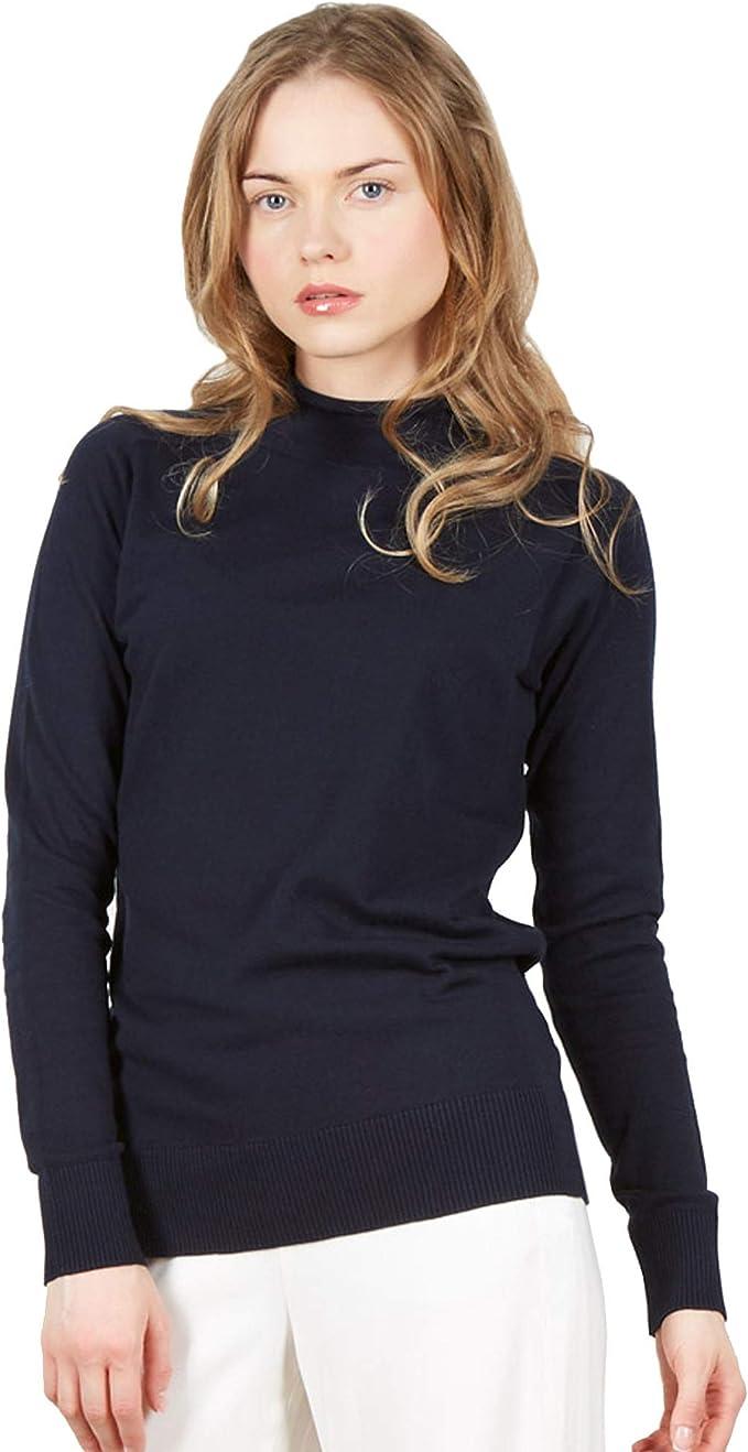 Jersey Suéter de Manga Larga con Cuello Alto Falso de Mujer en 100% algodón Pima Color Blue Navy: Amazon.es: Ropa y accesorios