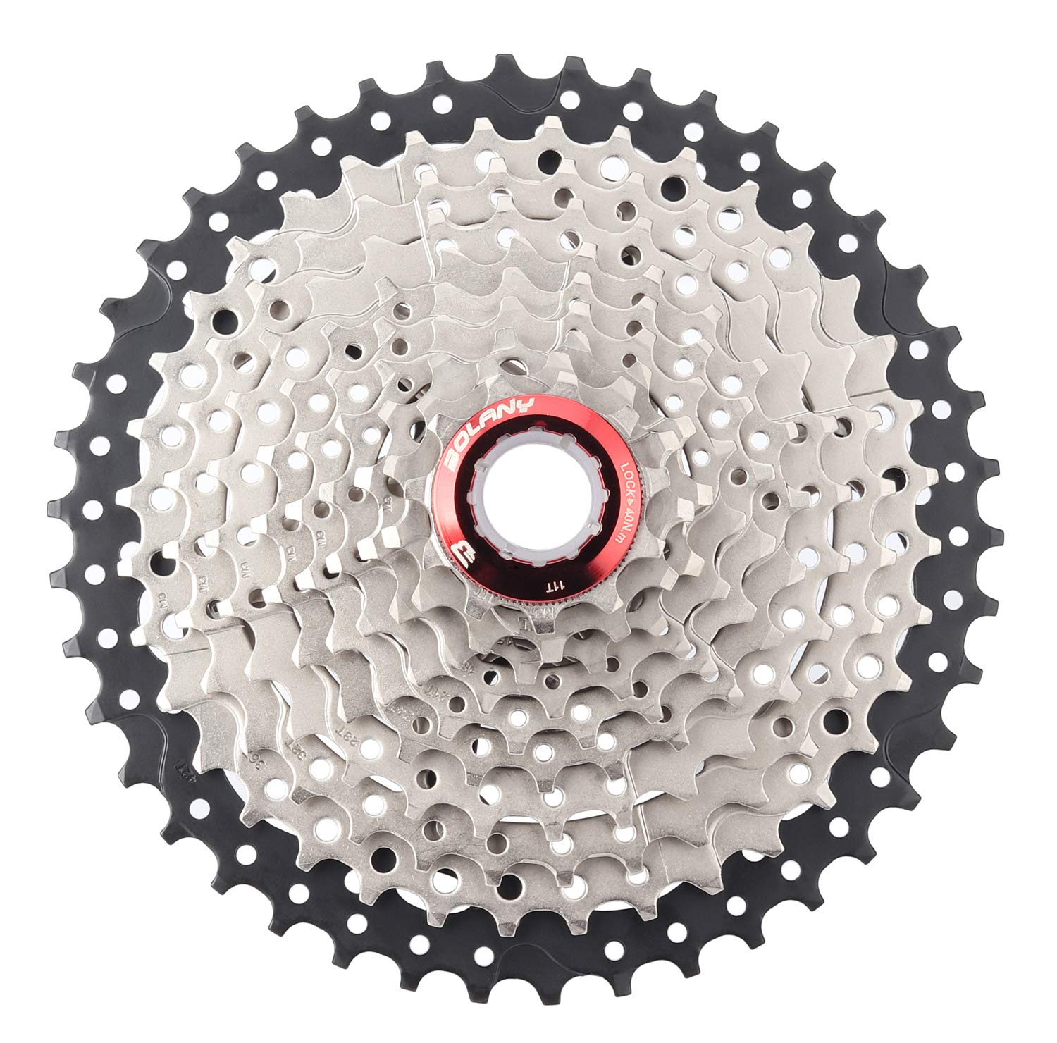 BOLANY 10 Speed Cassette Fit For MTB Black Silver 11-42T