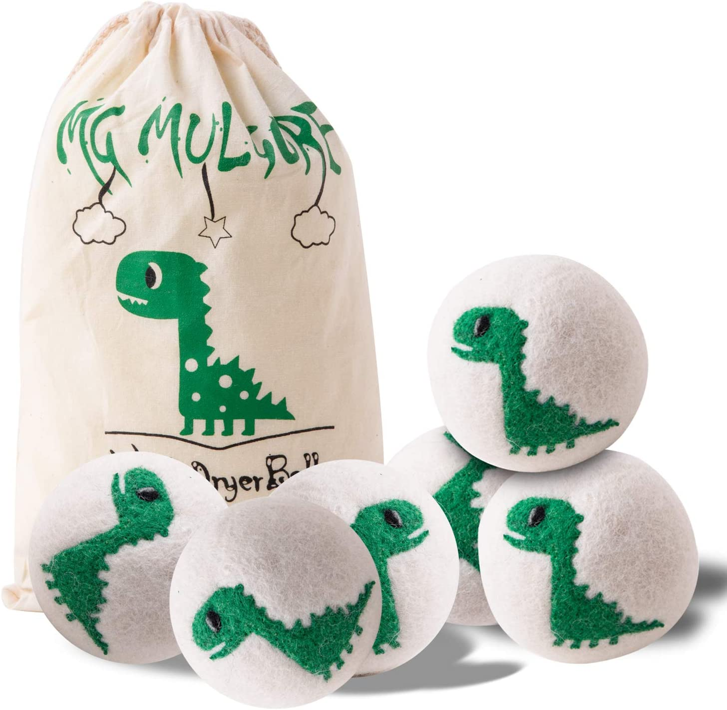 Wool Dryer Balls- 2019 New Green Dinosaur, 100% New Zealand Wool, Handmade, No Fading, Reusable Organic Natural Fabric Softener, Baby Safe Non-Chemical Reduce Wrinkles&Static Save Drying Time, 6Pack