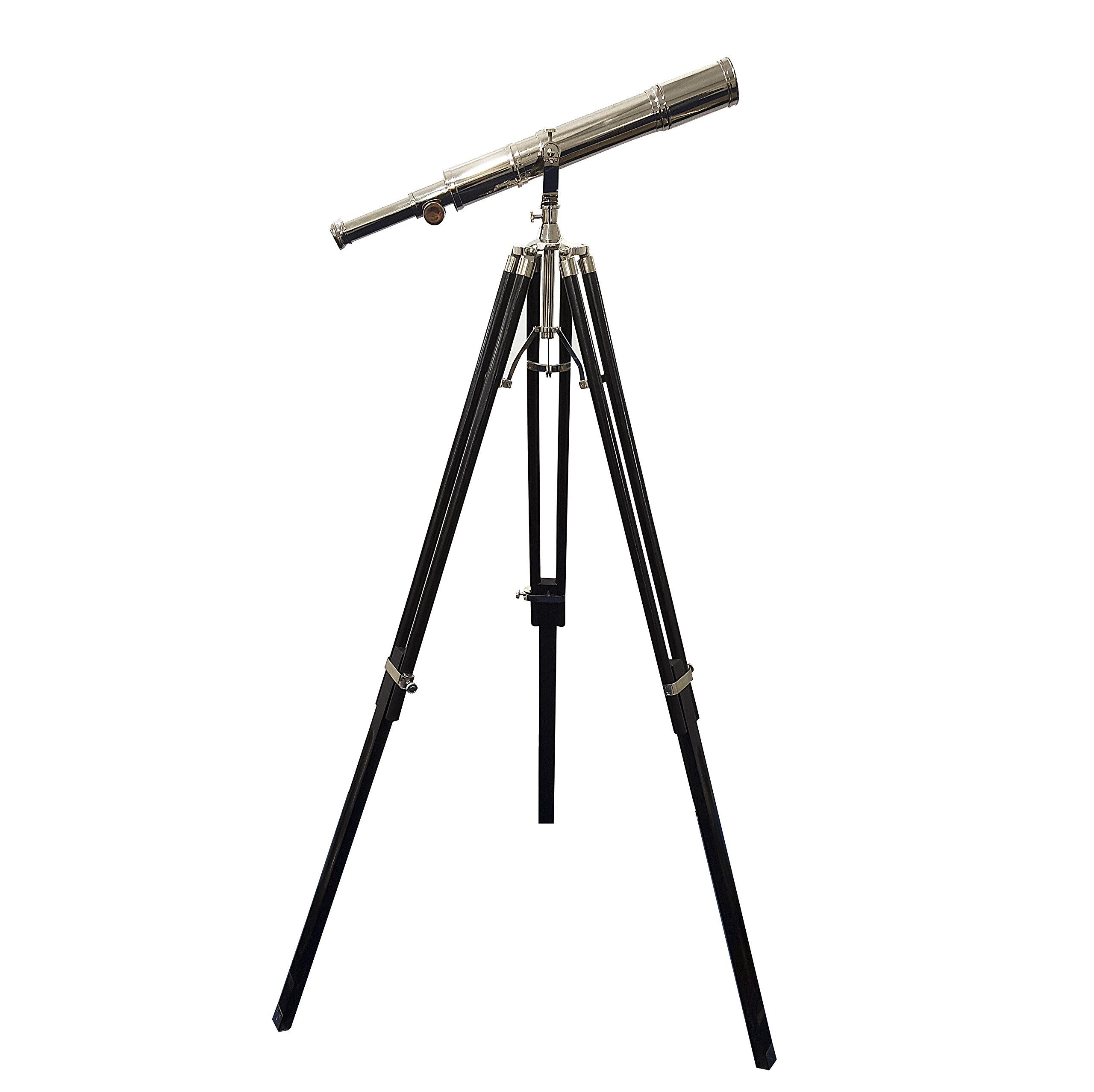 Royal Vintage Telescope Nickel Finish Wooden Black Tripod Home Decor Marine Gift Item