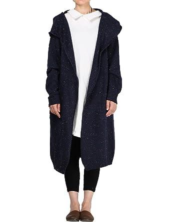 Damen mantel blau mit kapuze