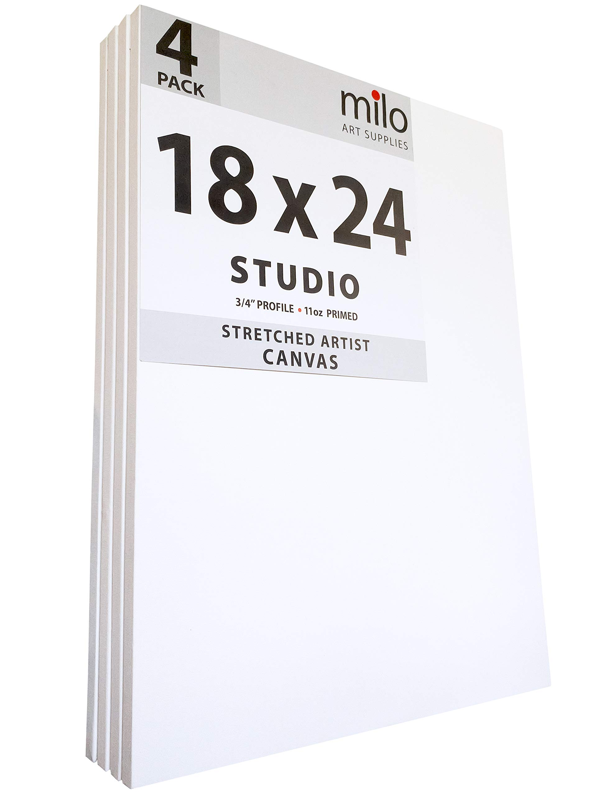 MILO PRO | 18 x 24'' Stretched Canvas Pack of 4 | 3/4'' inch Studio Profile | 11 oz Primed Large Professional Artist Painting Canvases | Ready to Paint White Blank Art Canvas Bulk Set by milo