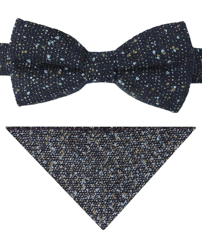 Flamingo Boys Navy Blue Dotted Tweed Waistcoat Set with Tie or Bow Tie Hankie