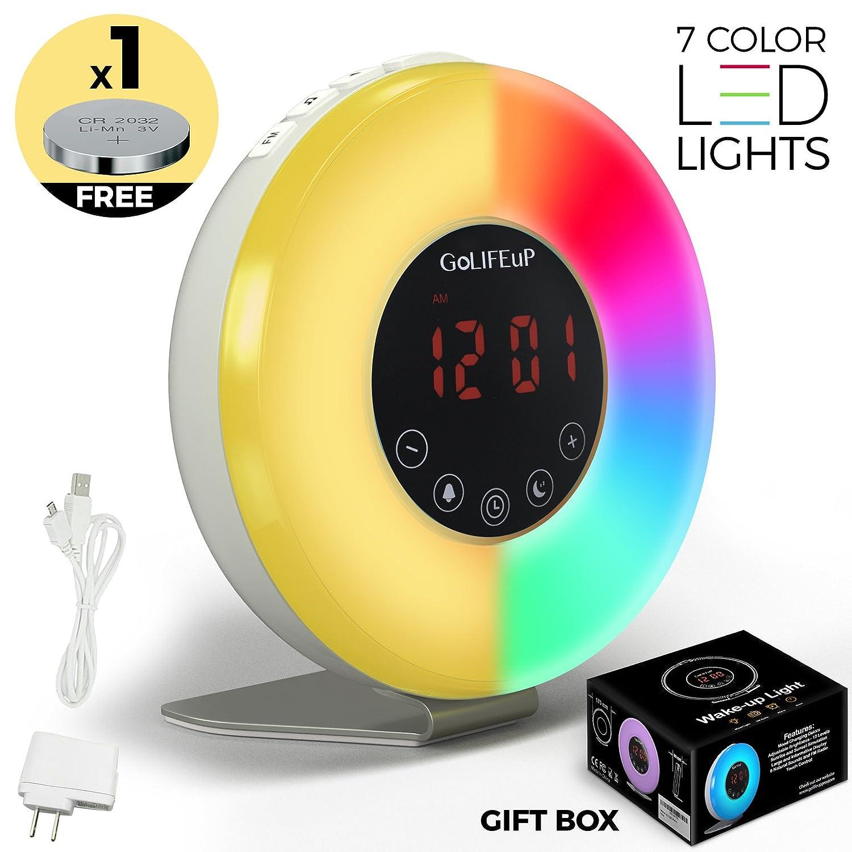 alarm clock radio digital sunrise and sunset simulation wake up light for kids teens women and. Black Bedroom Furniture Sets. Home Design Ideas