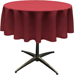 "LA Linen Polyester Poplin Round Tablecloth, 58"", Cranberry"