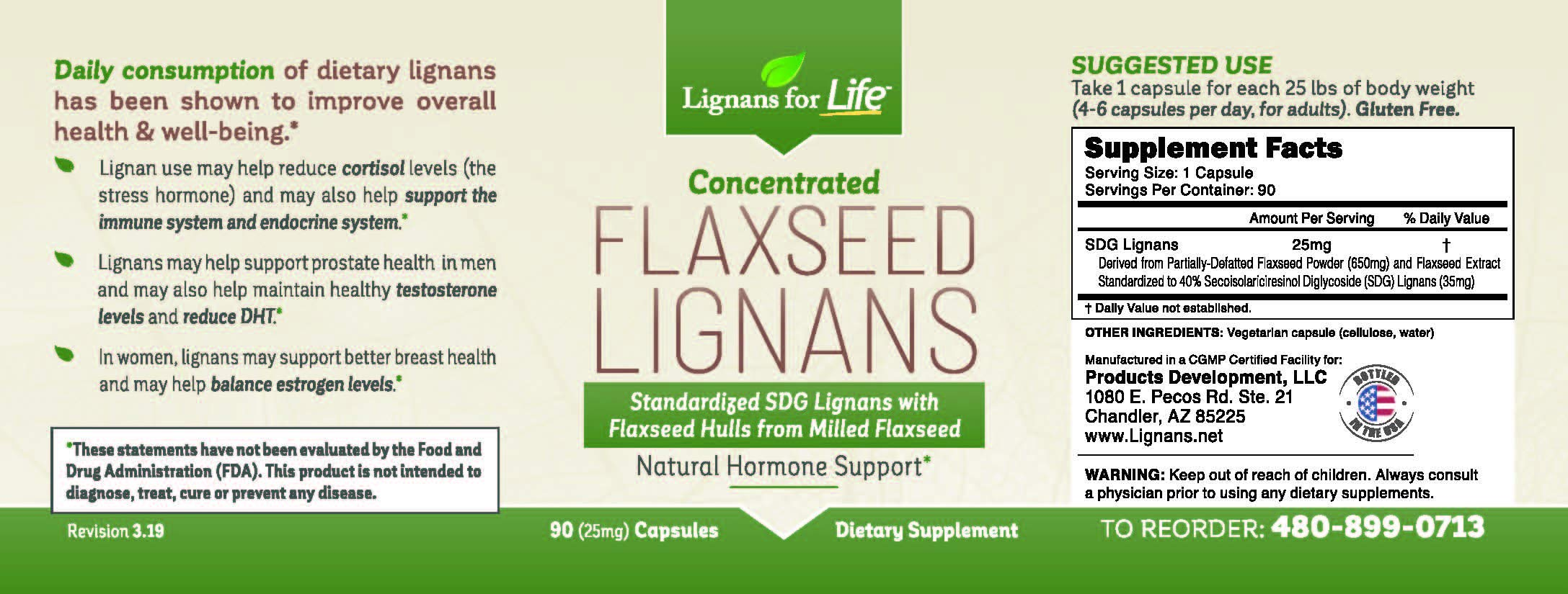 Lignans For Life Flaxseed Lignans, 90 capsules, 2 Pack by Lignans For Life (Image #2)