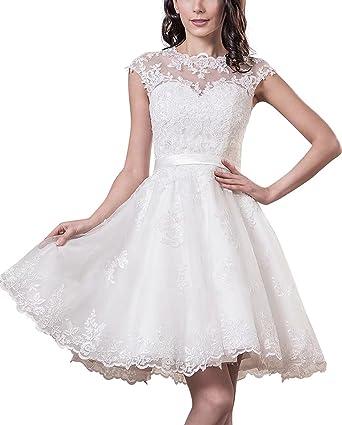Yasiou Hochzeitskleid Elegant Damen Weiss Kurz Standesamt Tull Spitze