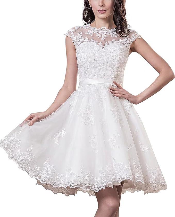 yasiou hochzeitskleid elegant damen weiss kurz standesamt tull spitze a linie durchsichtig brautkleid amazon de bekleidung