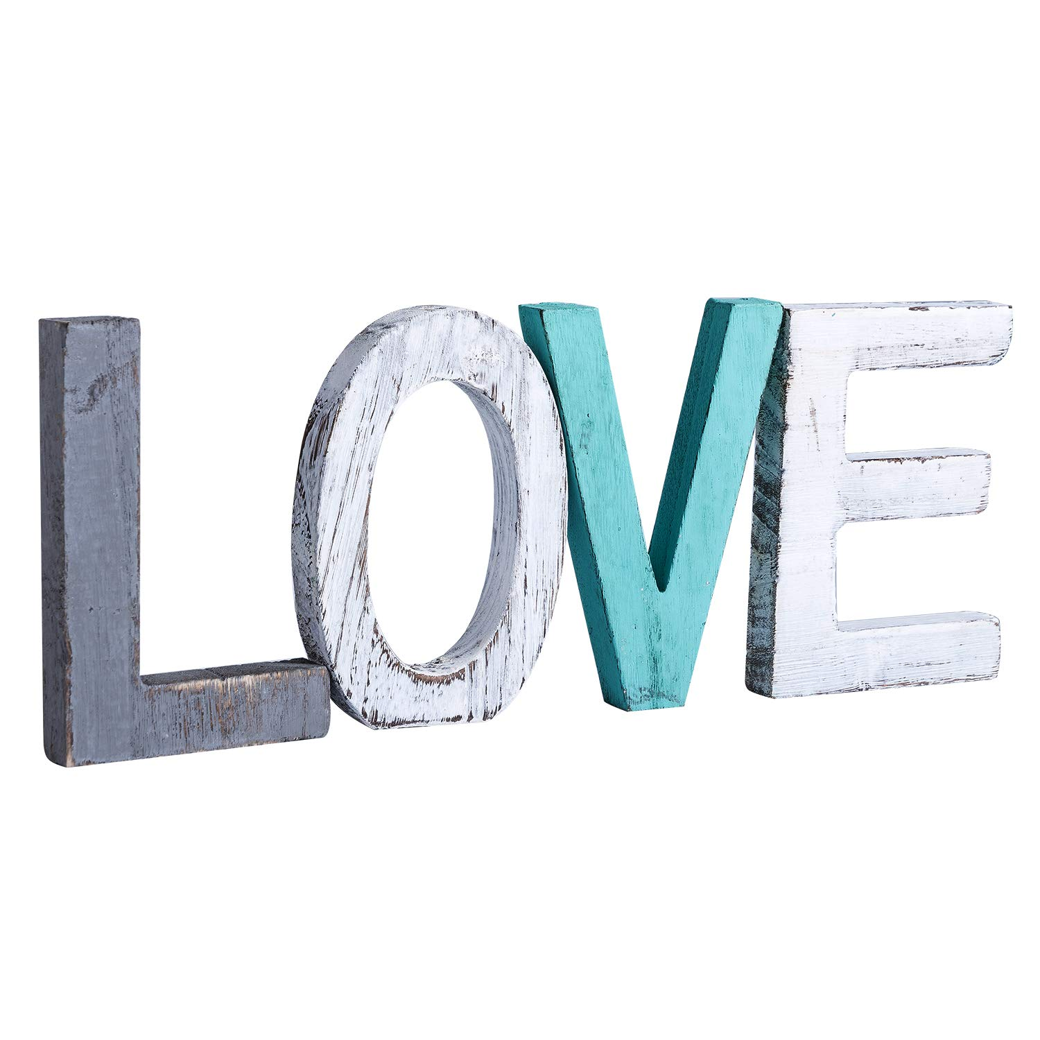 Y&ME Rustic Wood Love Sign, Decorative Wooden Block Word Signs, Freestanding Wooden Letters, Rustic Love Sign for Home Decor, Wedding Anniversary, Birthday,Christmas Sign Gift and More (Love Sign)