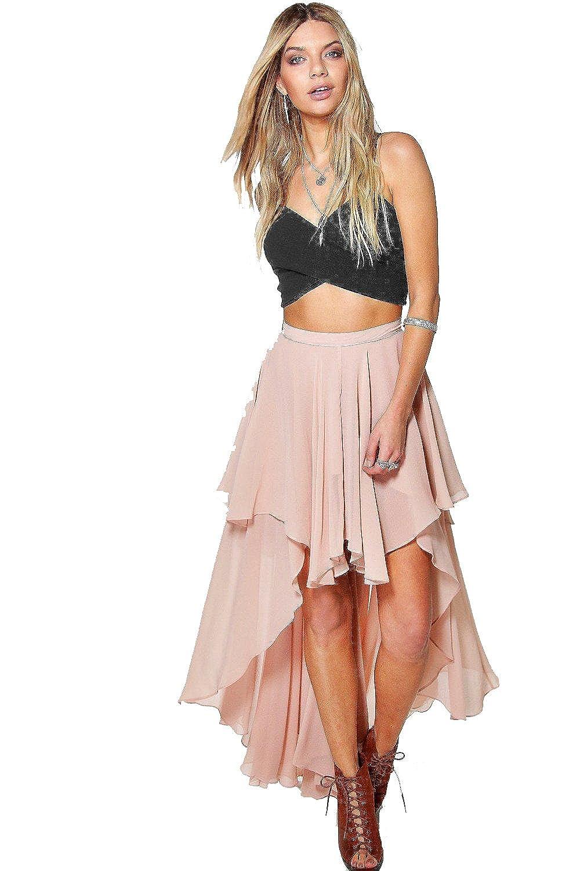 Nude Womens Giselle High Low Hem Bohemian Maxi Skirt