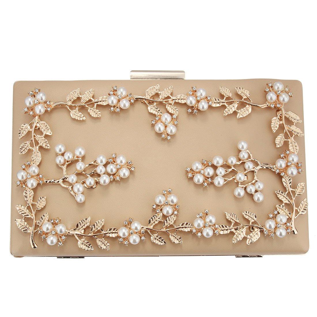 UNYU Flower Clutch Bag Womens Elegant Wedding Handbag Pearl Decor for Party Prom Purse