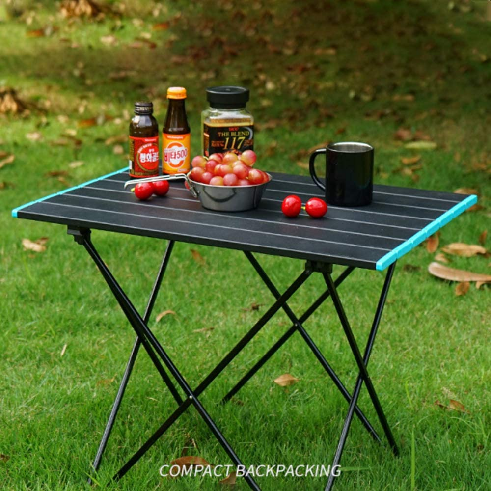 Best Buy Box Portable Camping Table Large Side-Ultralight Aluminum Outdoor Folding Table with Carry Bag-Sturdy Table with No Tool Assembly Required, Easy for Picnic Travel, Hiking or BBQ,Black
