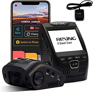 "Rexing V1-4K Ultra HD Car Dash Cam 2.4"" LCD Screen, Wi-Fi, 170° Wide Angle Dashboard Camera Recorder with G-Sensor, WDR, Loop Recording, Supercapacitor, Mobile App, 256GB Supported with GPS Logger"