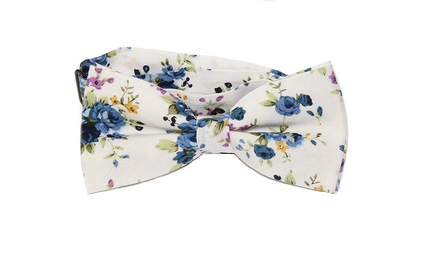 Mens Ivory Blue Purple Floral Pre-Tied Adjustable Bow Tie /& Blue Flower Lapel Pin