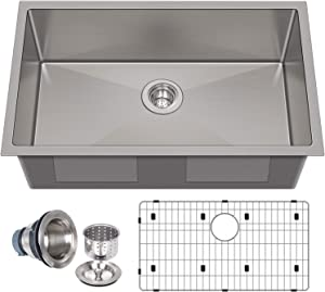 Hykolity 32 inch Kitchen Sink, 16 Gauge Undermount Single Bowl Stainless Steel with Strainer & Bottom Grid