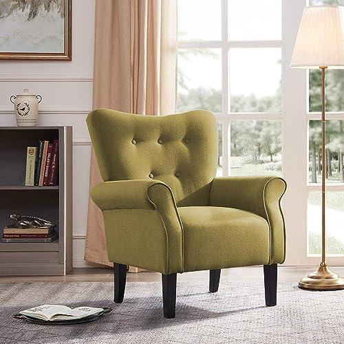BELLEZE Modern Accent Chair Roll Arm Living Room Cushion Linen w/Wooden Leg Avocado