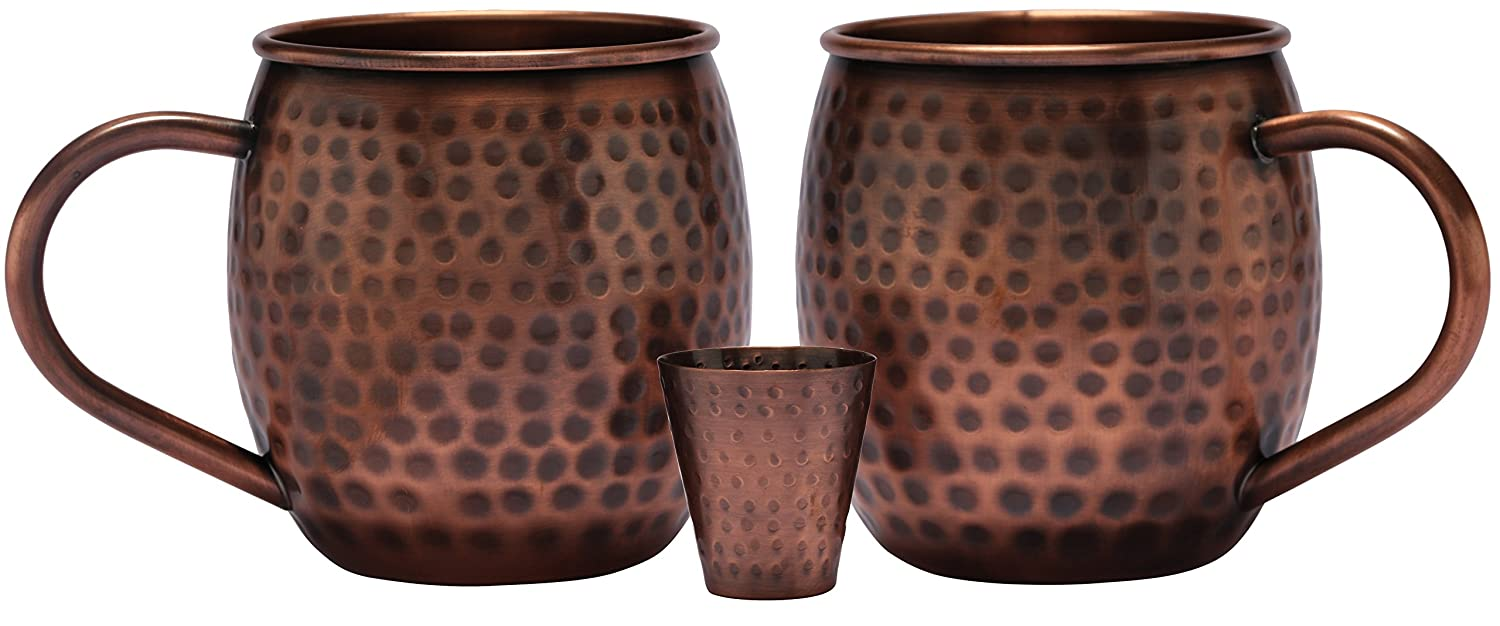 Melange 20 Oz Antique Finish Copper Barrel Mug for Moscow Mules, Set of 2 with One Shot Glass - 100% Pure Hammered Copper - Heavy Gauge - No Lining - Includes Free Recipe Card Ruby Compass Food Service 712166790052