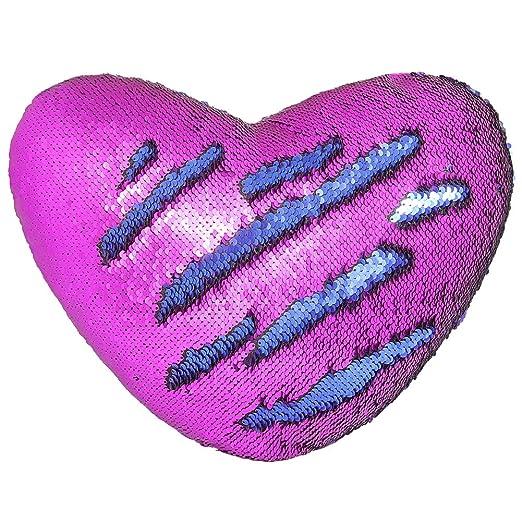 Cojín Mágico, Play Tailor Cojín Corazón Lentejuela Pillow Glitter Almohada Sirena Dos Colores Reversible Cojín Decorativo 35x40cm(Azul w/ púrpura)