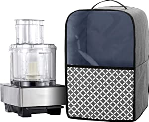 YarwoFood Processor Dust Cover with Pockets and Top Handle, Compatible with Hamilton Beach, Cuisinart 11-14 Cup Food Processor, Gray with Grid (Cover Only, Patent Pending)