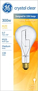 GE Lighting 73788 Medium Base General Purpose PS25 Light Bulb, 130-Volt, 266/300-Watt