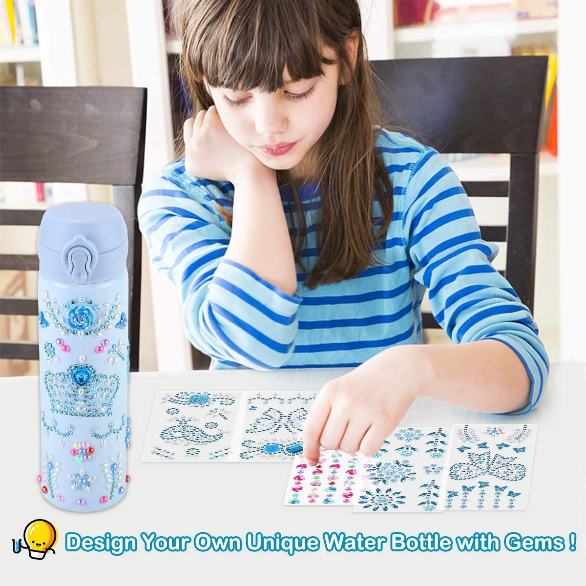 17 OZ BPA Free Stainless Steel Vacuum Insulated Kids Water Bottles Pakoo Decorate Your Own Water Bottle for Girls with Tons of Rhinestone Gem Stickers Fun DIY Art Set /& Craft Kit Gift for Girls