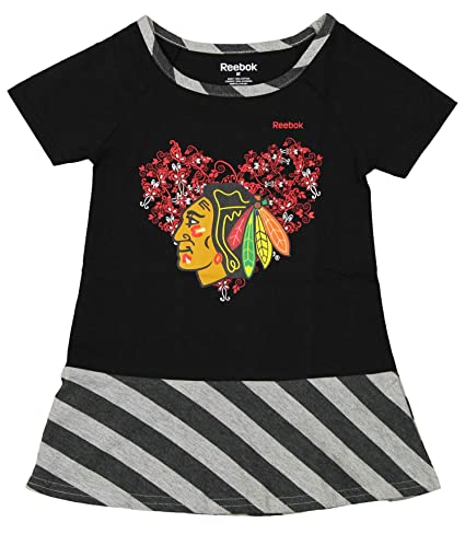 9ce62a7518c Reebok Chicago Blackhawks NHL Little Girls Toddler Fancie Dropwaist Dress,  Black (2T)