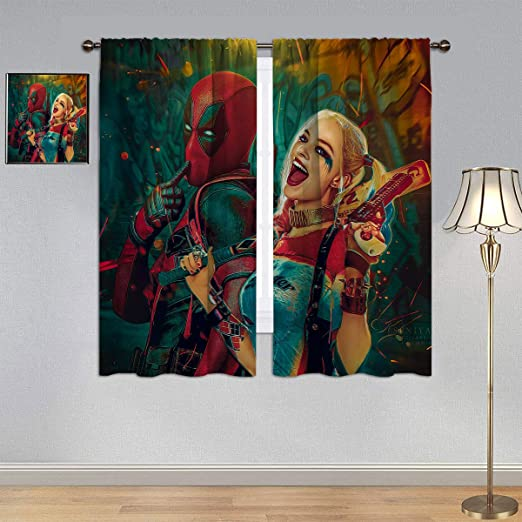 Amazon Com Blackout Window Draperies Deadpool Curtains Superhero Deadpool And Harley Quinn Waterproof Window Curtain For Bedroom Living Room 42x45 Inch Home Kitchen