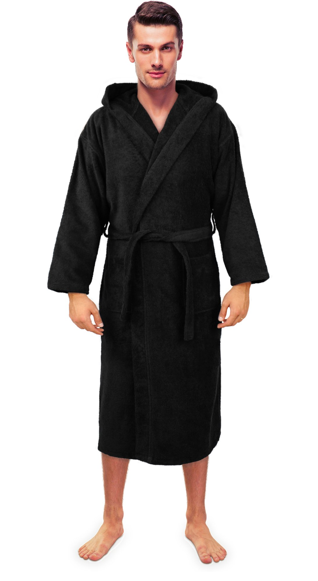 Turkuoise Men's Turkish Terry Cloth Robe, Thick Hooded Bathrobe