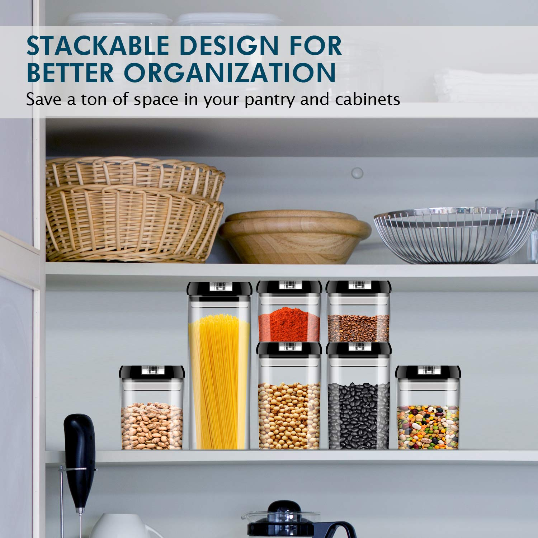 Juego de recipientes herm/éticos de pl/ástico duradero sin BPA con tapa de bloqueo para mantener los alimentos frescos JOLVVN 7 unidades