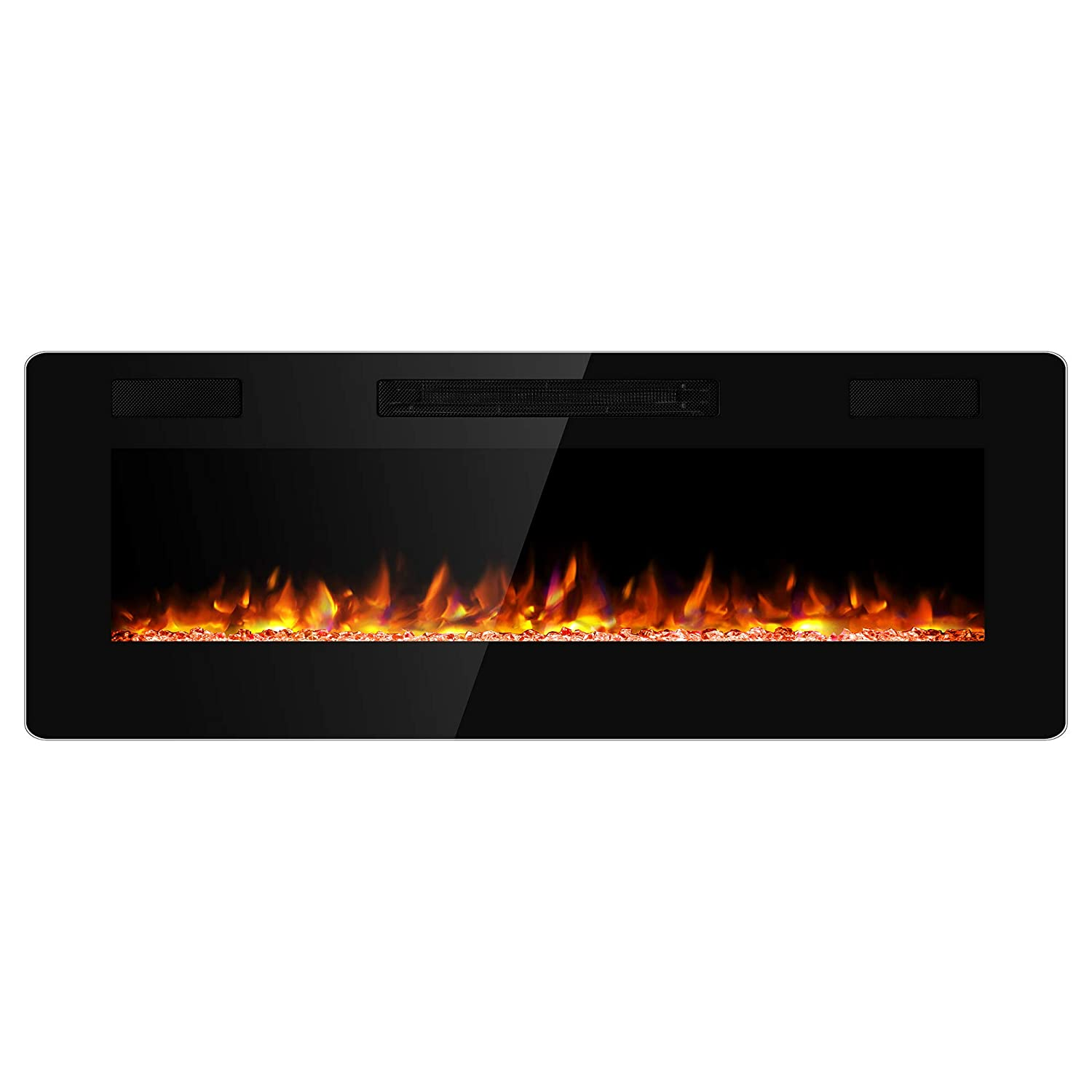 JAMFLY Electric Fireplace Wall Mounted 50 Inch Insert 3.86 Inch Thin Electric Fireplace Recessed Fit for 2 x 6 and 2 x 4 Stud Adjustable 12 Flame LED Colors Remote Control with Touch Screen Black