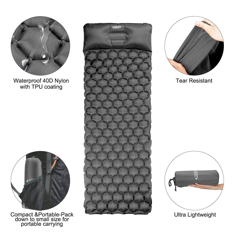 Amazon.com: G4Free - Almohadilla hinchable para acampada con ...