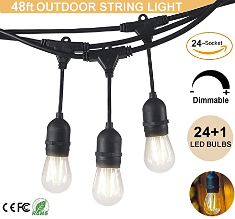 Amazon outdoor string lights 48 feet led commercial grade outdoor string lights 48 feet led commercial grade weatherproof connectable indooroutdoor led string light workwithnaturefo