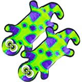 Invincibles Gecko Stuffingless Durable Tough Plush Dog Squeaky Toy with 2 Squeakers by Outward Hound