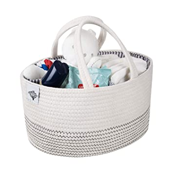 Baby Shower Gift for Boys and Girls ShiShu Creations Cotton Rope Diaper Caddy Storage Basket for Newborn Essentials Nursery Storage Bin and Car Organizer for Diapers and Baby Wipes