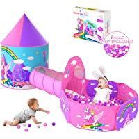 Gift for Girls Playhouse with Drawing Book, Unicorn Princess Castle Play Tent for Kids Girls & Pop Up Play Tunnel & Ball…