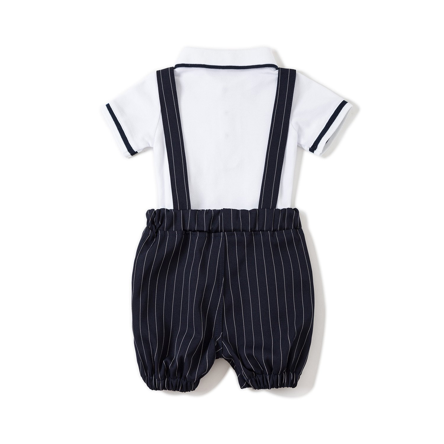 Baby Boys Gentleman Jumpsuit Outfits Suits Bow Tie Overalls Clothes Set (0-6Months, Blue) by Baby Love (Image #2)
