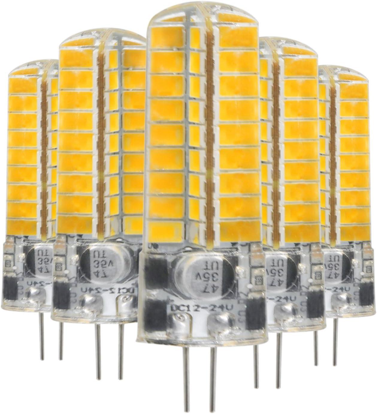 Bombilla LED, Lámpara de bombilla LED G4 5W 72LED 5730 SMD 400-500 Lm Blanco frío Blanco cálido LED Bi-Pin Lights AC/DC 12-24 V (5 PCS) Larga vida útil (Size : Cold White)