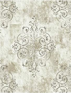 Haokhome 79601 Vintage French Damask Wallpaper Off White Grey Lt
