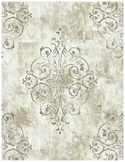 Haokhome 79601 Vintage French Damask Wallpaper Off White Grey Lt Gold For Home Bathroom Kitchen Accent Wall 20 8 X 33ft