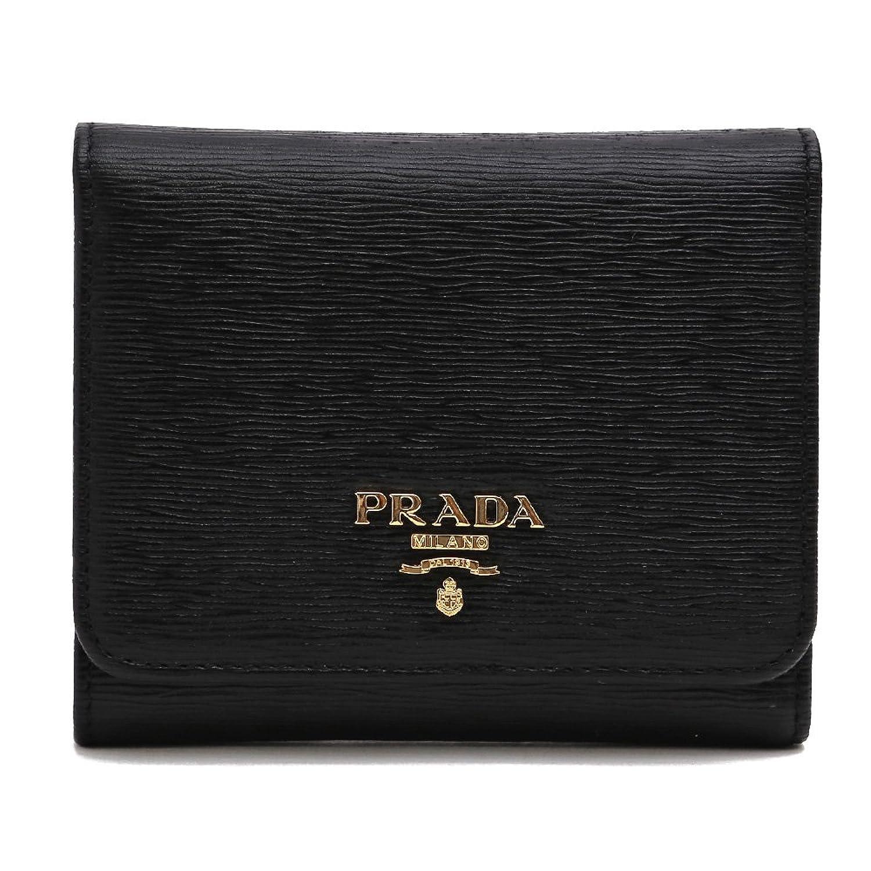 (プラダ)PRADA 財布 3つ折り OUTLET アウトレット メタルロゴ 型押しレザー (ブラック) 1MH176 VITELLO MOVE NERO [並行輸入品] B06XDL6VYX