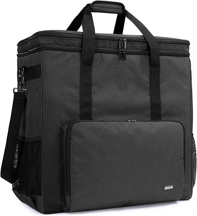 Curmio Double-Layer Carrying Case for Computer Tower, Desktop Computer Travel Storage Tote Bag for PC Chassis, Keyboard, Cable and Mouse, Headphone, Bag Only, Black