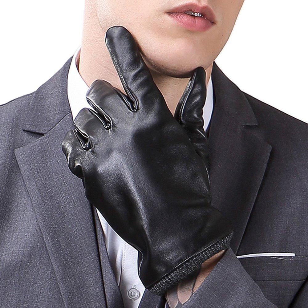 HARRMS Herren Leder Handschuhe Touchscreen Winterhandschuhe Warm Gefüttert Fäustlinge Fausthandschuhe mit Fütterung für Fahren Motorrad Radfahren,Schwarz/Braun