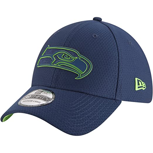 new product 5cf00 751bf New Era Authentic Seattle Seahawks Team Color 2018 Training Camp 39THIRTY  Flex Hat (S