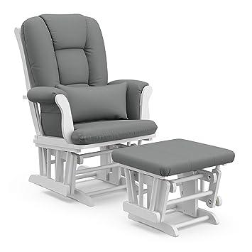 Swell Storkcraft Tuscany Custom Glider And Ottoman With Lumbar Pillow White Grey Inzonedesignstudio Interior Chair Design Inzonedesignstudiocom