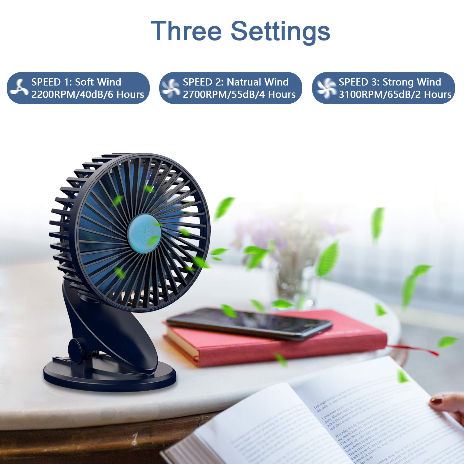 Stroller Fan, Clip On Fan, USB & Rechargeable Battery OperatedMini Fans with 3 Speeds, Personal Cooling Fan 360°Adjustable Rotating, Super Quiet, Ideal for Home, Office Desk, Travelling & Camping by NUÜR (Image #2)