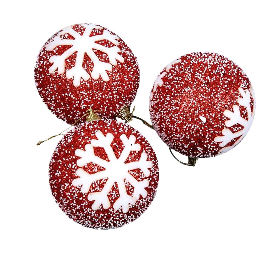 Kimanli 3Pcs Christmas Snowflake Glitter Balls Party Ornaments Christmas Tree Hanging Decor Gifts Year Hot (Red)